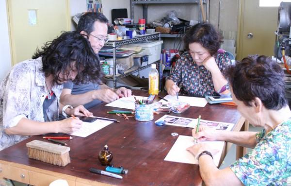 花嫁の家族、沖縄ガラス星砂体験