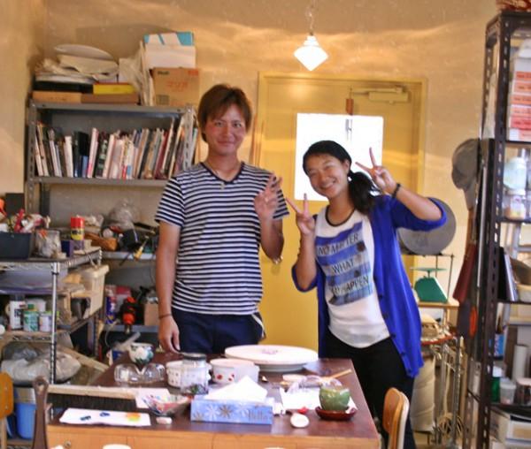 カップルさんの沖縄ガラス星砂体験