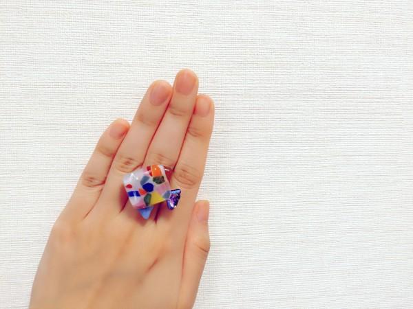 星砂をガラス入れた指輪を作れて、楽しいガラス体験でした。 沖縄 恩納村 ガラス体験