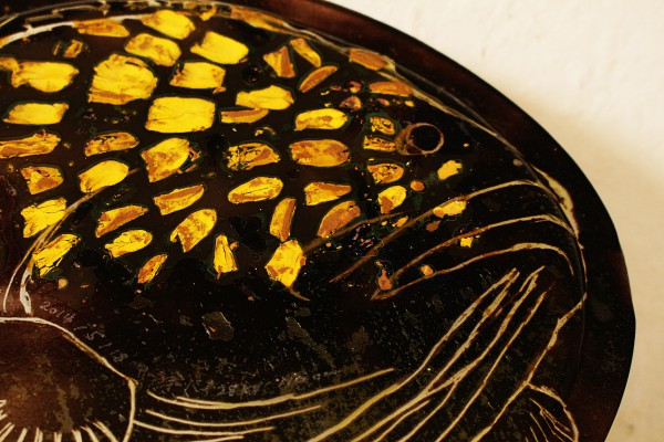 魚のウロコを使った大皿が欲しい 恩納村 琉球ガラス体験工房