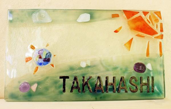 子供の絵が表札になり嬉しいです 沖縄 恩納村 ガラス体験